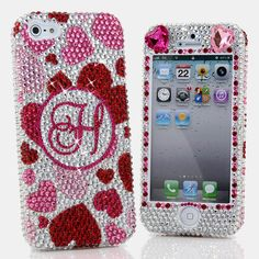 Bling Cases, Crystallized monogram Pink Hearts design case for iphone 5, iphone 5s, iphone 6, Samsung Galaxy S4, S5, Note 2, Note 3, LG, HTC, Sony – LuxAddiction.com