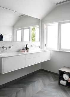 White floating vanity with inbuilt basins, chrome tap and mixer, marble splash back and charcoal her Small Bathroom Sinks, Upstairs Bathrooms, Bathroom Sink Vanity, Bathroom Layout, Dream Bathrooms, Beautiful Bathrooms, Bathroom Interior, Bathroom Ideas, Bathroom Inspo