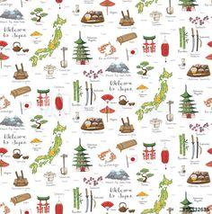 Seamless background of hand drawn doodle Welcome to Japan set. Vector illustration. Sketchy Japanese related icons, Japan elements, map, pagoda, umbrella, sumo, sake, samurai, Fuji, food, sakura