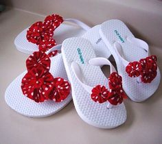 Mommy and Me Look A  Like White Flip Flops with Red and White Polka Dot Yo Yos and Ribbons