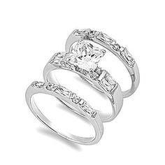 What a cute idea. One small band for engagement ring, add the bigger middle band on your wedding day, and surprise her with the third band  on your honeymoon!!! :)!!!!