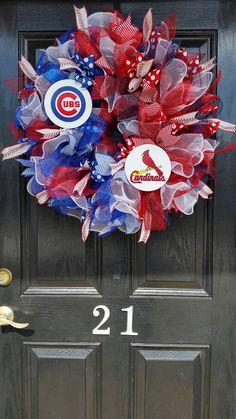 HOUSE DIVIDED Deco Mesh Burlap Ribbon Wreath Chicago Cubs St Louis Cardinals MLB Baseball Teams
