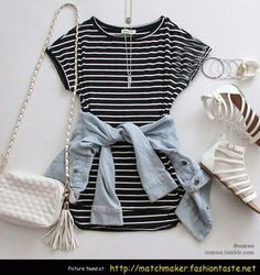 I like the striped dress and light denim jacket. White accessories look striking!
