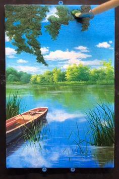 Canvas Painting Tutorials, Diy Canvas Art, Acrylic Painting Canvas, Scenery Paintings, Landscape Paintings, Art Painting Gallery, Sky Art, Lake Painting, Watercolor
