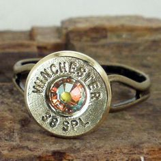 Bullet Ring Winchester 38 SPL AB Crystal by She - maybe the shell of the bullets shot at grandpa's funeral