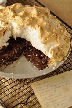 Chocolate Meringue Pie, I do not like meringue, so this pin is for my followers who do ;-)