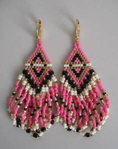 Seed Bead Beadwoven Earrings  Pink  Copyright Patti by pattimacs, $20.00