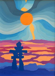 shine brite zamorano: an inukshuk. and ted (Harrison) Art Inuit, Classe D'art, 7 Arts, 3rd Grade Art, Grade 2, Landscape Quilts, Landscape Paintings, Native American Artifacts, Inspiration Art