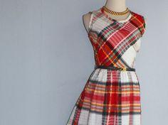 Adorable 1960s Toni Todd cotton plaid maxi dress by LuxLoveVintage