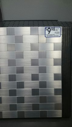 Stainless steel backsplash found at Lowes
