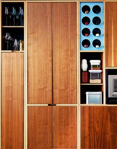 A detail of the cabinetry in the open kitchen