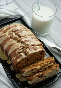 Healthy Pumpkin Bread with Orange Glaze - This healthy quick bread is made with 100% whole wheat flour and other wholesome ingredients, leaving room for topping with a zesty orange decadent glaze. Make this for breakfast on thanksgiving morning and you'll have very happy guests! - Feasting Not Fasting
