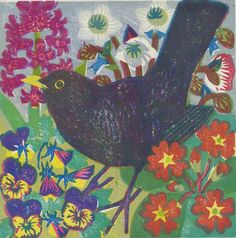 """Spring Blackbird"" by Matt Underwood (woodblock print)"