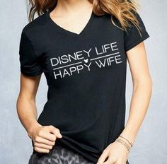 "There have been a lot of different Disney shirts I have shown you that you have loved. One of those is the beloved ""Disney Life, Happy Wife!"" There is a huge sale on all your favorite Disney shirts today and tomorrow! Disney Honeymoon, Disney Vacations, Disney Trips, Disney Travel, Disney Cruise, Walt Disney, Disney Ears, Disney Shirts, Disney Outfits"