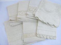 lot antique whitework linen damask & cotton towels, crochet & tatting lace