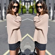 lazy sweater w/ fitted skirt