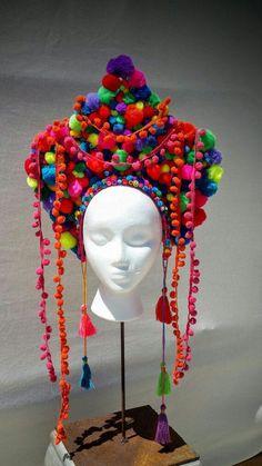 Burning man/Festival pom pom headdress by Strawberyfreckles Maske Halloween, Costume Carnaval, Mardi Gras Costumes, Festival Costumes, Crazy Hats, Rave Outfits, Mode Vintage, Headgear, Festival Fashion
