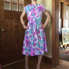 Vintage Spring Dress  Bright Floral Dress  by MyVintagePoint