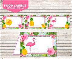 50 Off Sale Flamingo Food Labels instant download Pineapple