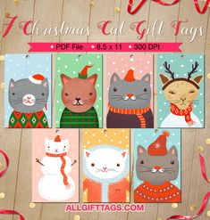 Printable Christmas cat gift tags. Get them in PDF format at http://allgifttags.com/download/christmas-cat-gift-tags/