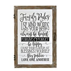 Family Rules Windowpane Plaque