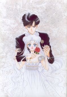 "Princess Serenity & Prince Endymion : 美少女戦士セーラームーン原画集 Bishoujo Senshi Sailor Moon Original Picture Collection Vol.4 - ""Why do they say Usagi-chan is princess-like only in her costume? … oh, also, it wasn't intentional, but I forgot to draw the crescent moon and the hair ornaments into the picture"" by Naoko Takeuchi - Kodansha Comics Vol. 15 Cover"