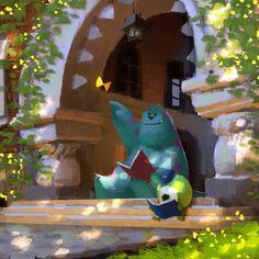 Monsters Inc, Disney, Pixar, Sully, Mike Deco Disney, Disney Art, Walt Disney, Pixar Concept Art, Disney Concept Art, Will Terry, Color Script, Drawn Art, Disney Kunst