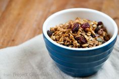 Easy Homemade Granola (Without a Recipe)  Ingredients (Ratio) 4 cups oats 2 cups any mix of chopped nuts and/or seeds 1 cup mix of dried fruit (chopped roughly, if large) 1/2 cup oil 1/2 cup syrupy sweetener or mix thereof (honey, maple/golden/Karo syrup, etc.)