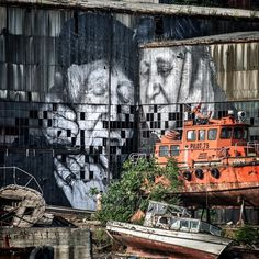 JR ~ Ali, an old fisherman from Istanbul and his very patient wife Sukran ... This pasting is visible from the Golden Horn on the Old Docks 2015  #Wrinklesofthecity
