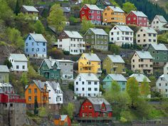 Odda, Norway. They remind me of those tin houses for xmas