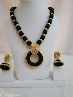 Stylish and ideal necklace set black in color for party wear. This set includes necklace and earring. Handmade superbly crafted jewelry. Silk threads and wooden moulds were used. Colors can be customized accordingly. Appropriate for festive events. #craftsofindia #indianhandicrafts #madeinindia #craftsbazaar #artsandcrafts #handmade