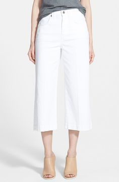 white culottes jeans & nude sandals #style #fashion #denim #summer