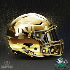 """2,665 Likes, 179 Comments - Empire Graphics (@_empiregraphics) on Instagram: """"Lucky Charm! All gold ND helmet. They dont call them the Golden Domers for nothing. #nd #notredame…"""""""