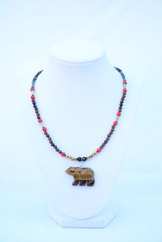 Brown Bear Gemstone Necklace. Bear Necklace. American Indian Bear Spirit Pendant. Symbolic Animal Jewelry. Spiritual Journey Jewelry. Unisex by flashinfashinjewelry. Explore more products on http://flashinfashinjewelry.etsy.com