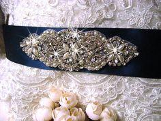 rhinestone applique, crystal applique, bridal sash applique, pearl beaded rhinestone applique
