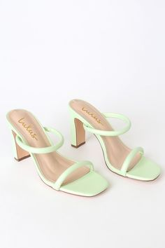 Channel your inner fashionista and step out of the box with the Lulus Xenya Pistachio Green High Heel Sandals! Vegan leather heels with a strappy vamp. Trendy Shoes, Cute Shoes, Me Too Shoes, Heeled Boots, Shoe Boots, High Heel Boots, High Heels Sandals, Slide Sandals, Boho Heels