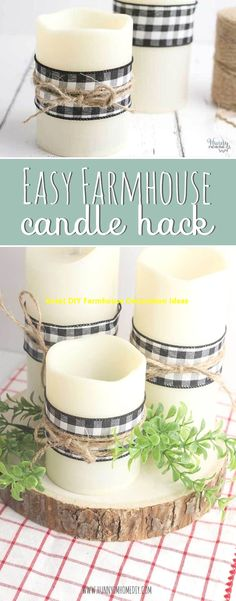 Simple DIY Farmhouse Decor Candle Hack This easy candle hack is a simple DIY farmhouse decor project that turns a candle into a beautiful buffalo check decoration for your home. Farmhouse Candles, Rustic Candles, Home Candles, Diy Candles, Decorating Candles, Decorating Ideas, Diy Décoration, Easy Diy, Simple Diy