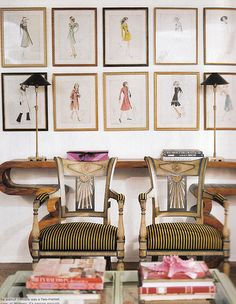 fashion illustration art wall: domino magazine
