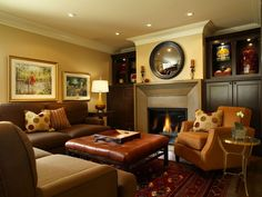Interior Design, Awesome Luxury Modern Traditional Finished Basement Family Room With Simple Fireplace Between Built In Cabinet Also Square Leather Ottoman On Parsian Rug Design Ideas ~ Designed Amazing Finished Basements in Your Home