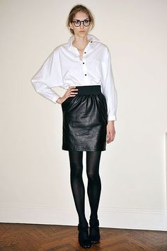 Batwing button-up and leather skirt