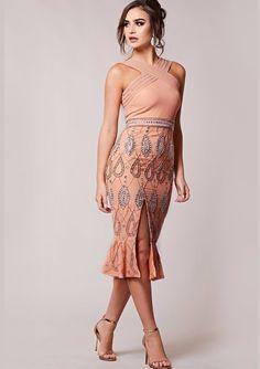 084b7e39ef5 Virgos Lounge Pink Dasha Sequin Dress Midi Bridesmaid Long Party 12 14   VirgosLounge  PencilDress