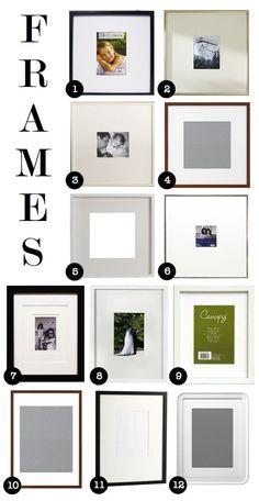 affordable frames for gallery walls  1)wal-mart  2)pottery barn 3)pottery barn 4)ikea  5)ikea  6)target  7)target  8)ikea  9)wal-mart  10)ikea 11)west elm  12)ikea