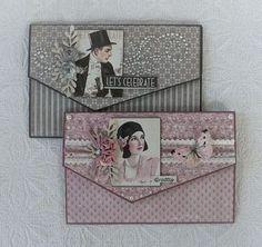 Envelope card with tutorial Wedding Cards Handmade, Handmade Birthday Cards, Scrapbooking Vintage, Scrapbook Box, Mini Albums Scrap, Birthday Cards For Women, Shaped Cards, Card Tutorials, Envelopes