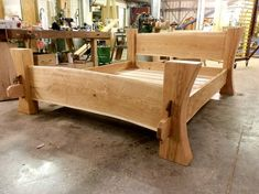 Bed Frames Queen Size Wooden Bed Frames No Box Spring Needed Log Furniture, Woodworking Furniture, Furniture Design, Wood Bed Design, Bed Frame Design, Timber Beds, Wood Beds, Homemade Beds, Rustic Bedding