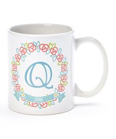 This Floral Wreath Personalized 11-Oz. Mug is perfect! #zulilyfinds