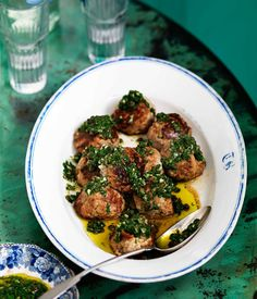 Veal and ricotta meatballs with salsa verde - Gourmet Traveller