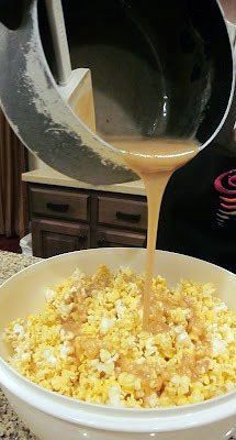 This stuff is the BOMB Soft Caramel for Popcorn 1c brown sugar, 1 stick butter, 1c karo syrup, 1 can condensed milk