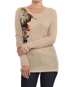 Take a look at this Beige Floral Sweater by Farinelli on #zulily today! $20 !!