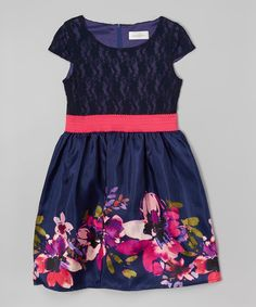 Look at this Us Angels Navy Floral Lace-Detail Dress - Girls on #zulily today!
