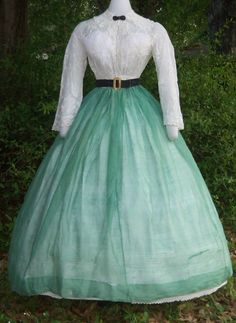 "Original Civil War Era Summer Skirt C 1860 | eBay seller sadira33610; silk/wool blend; center back closure; off-white muslin waistband; all hand sewn; watch pocket in front right waist; wide hem; (blouse, etc. not included); waist: 24""; length: 42"""